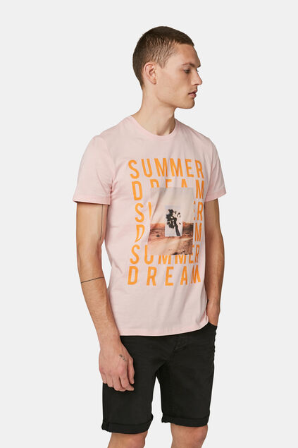 Heren summer dream print T-shirt Lichtroze