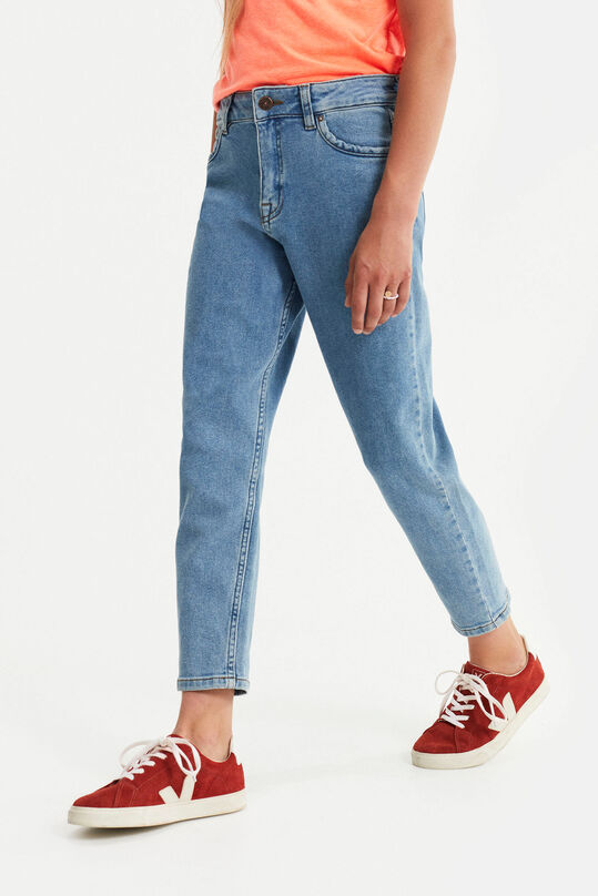 Meisjes high rise mom fit jeans Lichtblauw