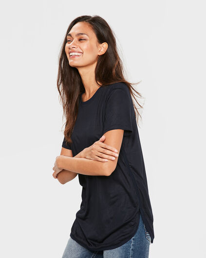 DAMES SOLID SPORTY TOP Donkerblauw