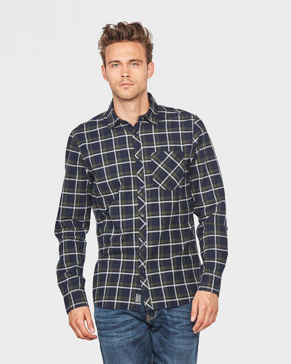 HEREN FLANNEL CHECKED OVERHEMD Donkerblauw