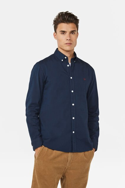 Heren slim fit Oxford overhemd Indigo