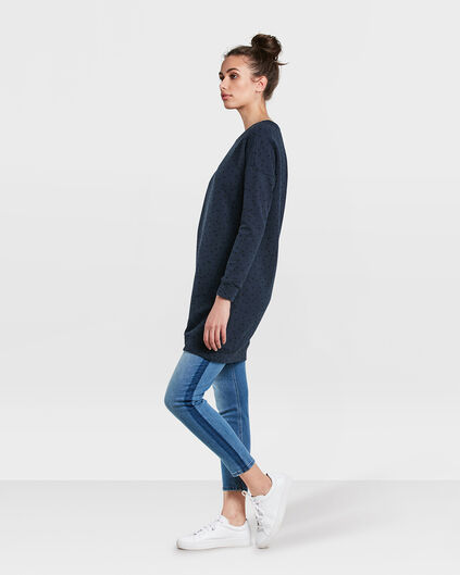 DAMES DOT PRINT SWEAT JURK Donkerblauw