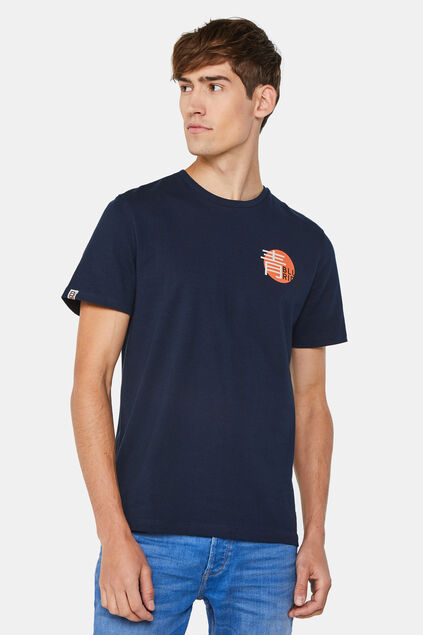 Heren T-shirt met backprint Donkerblauw