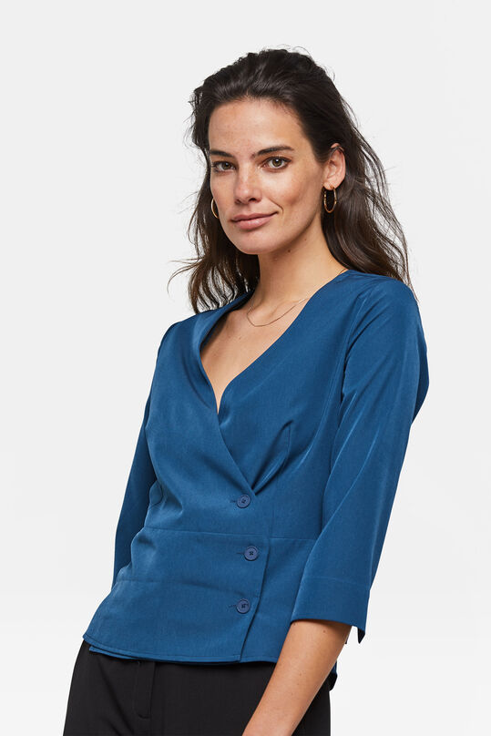 Dames knoopdetail blouse Blauw