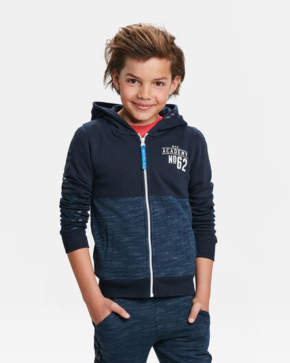 JONGENS MELANGE PRINT HOODED SWEAT VEST Marineblauw