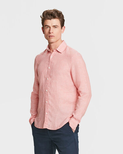 HEREN SLIM FIT LINNEN OVERHEMD Roze
