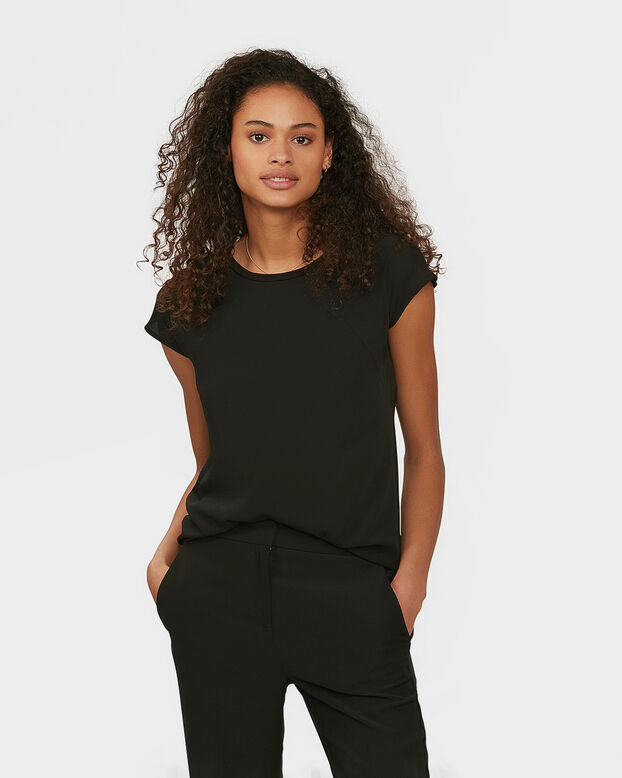 DAMES CONTRAST TOP Zwart