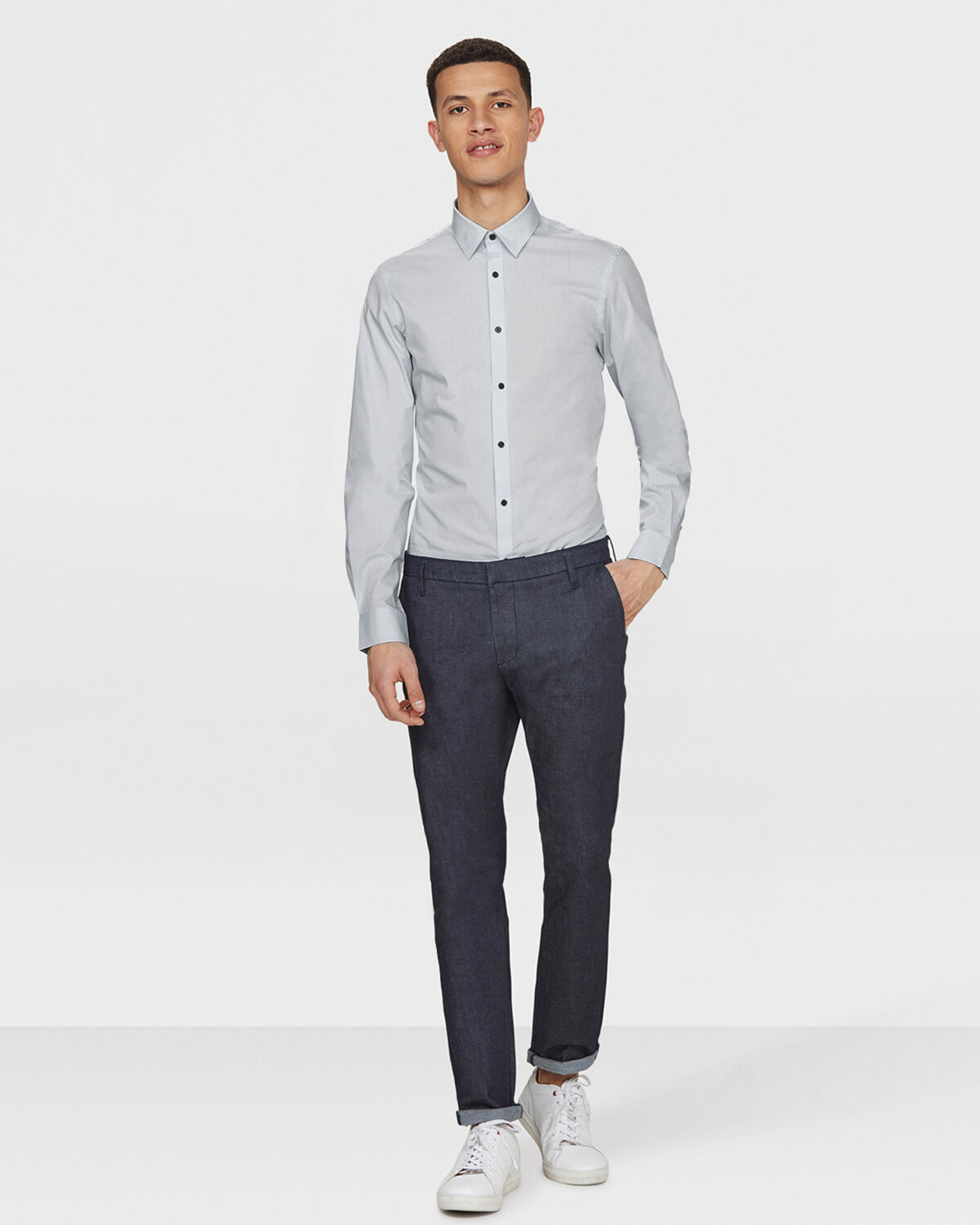 Heren slim fit stretch overhemd | 81356485 WE Fashion