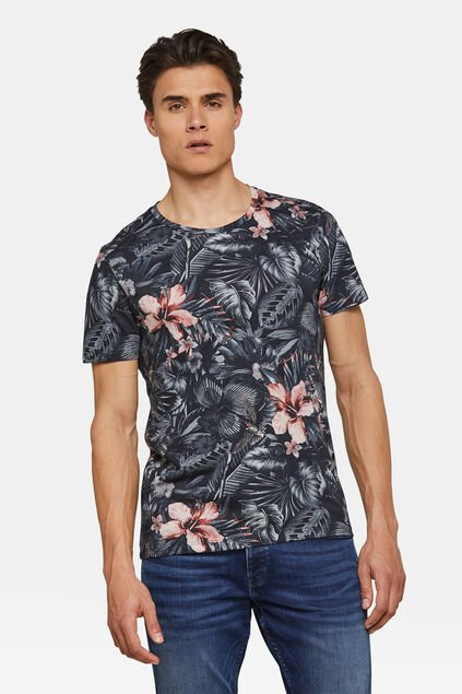 Heren bloemenprint T-shirt Marineblauw