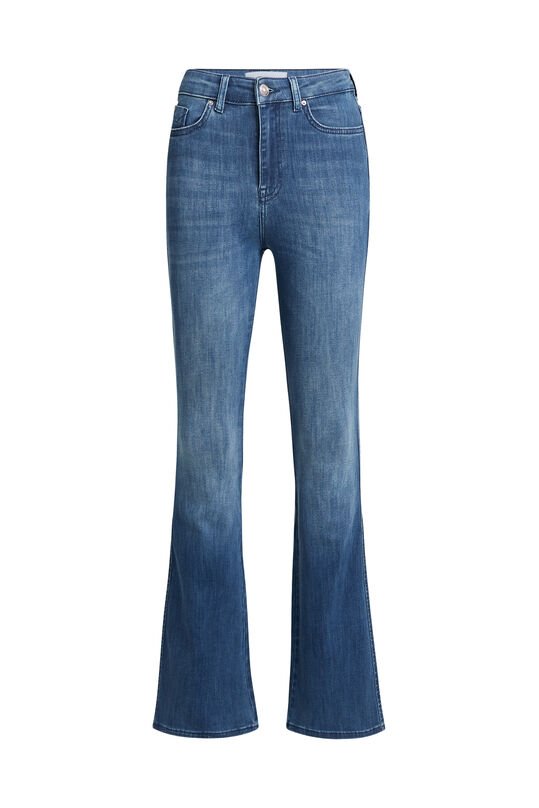Dames high rise flared jeans met stretch Blauw