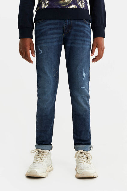 Jongens slim fit jeans met destroyed details Donkerblauw