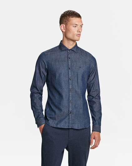 HEREN SLIM FIT BLUE RIDGE DENIM OVERHEMD Donkerblauw