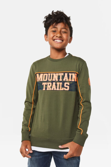 Jongens mountain trails T-shirt Legergroen