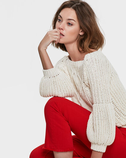 DAMES CABLE KNIT TRUI Gebroken wit