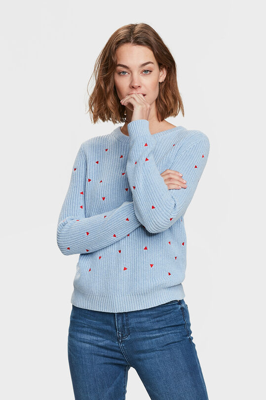 DAMES TRIANGLE DETAIL KNIT TRUI Lichtblauw