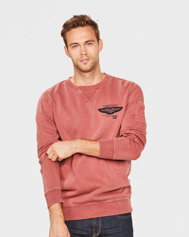 HEREN RELAXED FIT SWEATER Donkerrood