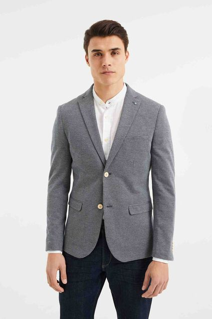 Heren skinny fit blazer met structuur, Bes Birdseye All-over print