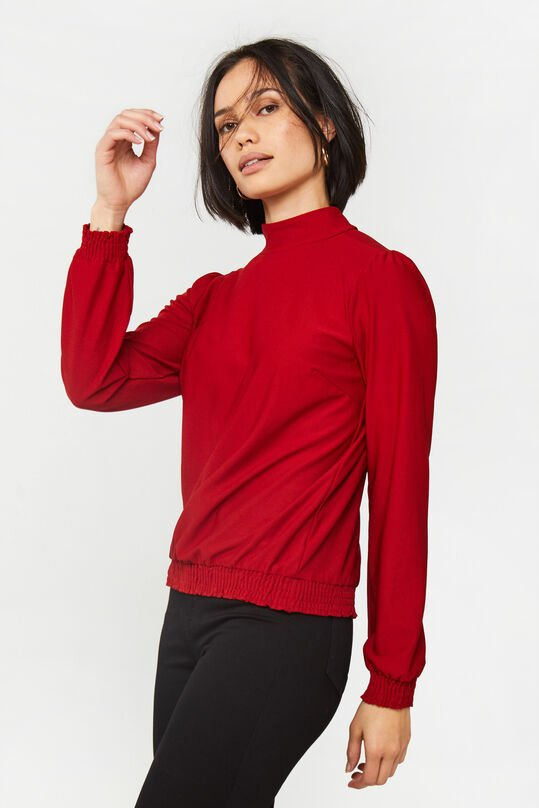 Dames jersey top met smokwerk Rood