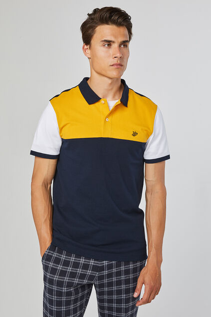 Heren colourblock polo Marineblauw