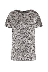 Dames slangenprint top_Dames slangenprint top, Zwart