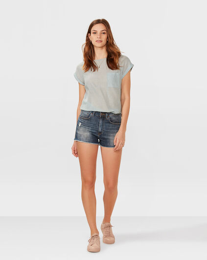 DAMES HIGH RISE SLIM DENIM SHORT Blauw
