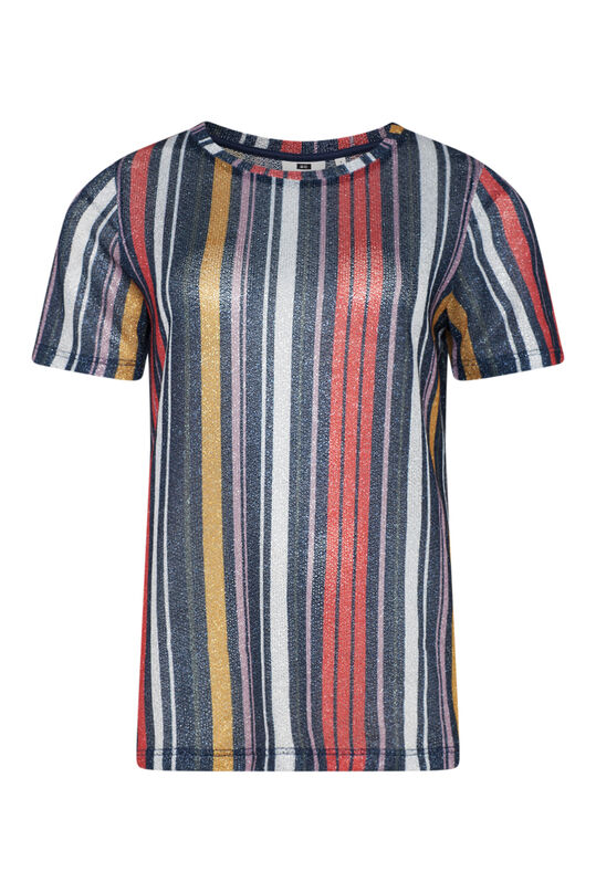 Dames lurex T-shirt Multikleur