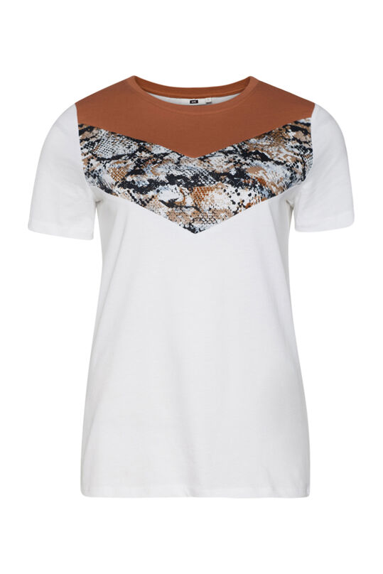 Dames slangenprint T-shirt Wit