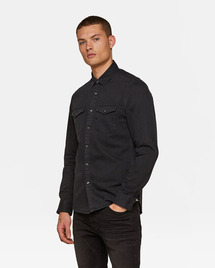 Heren slim fit denim overhemd Zwart