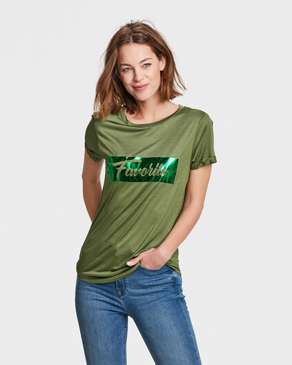 DAMES METALLIC PRINT T-SHIRT Legergroen