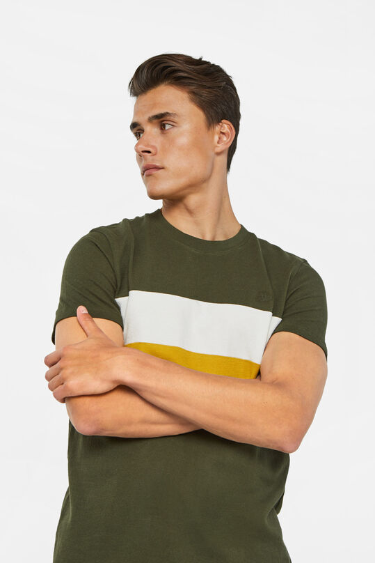 Heren T-shirt met colourblock Legergroen