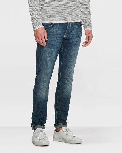 HEREN SLIM TAPERED COMFORT STRETCH SELVEDGE JEANS Blauw