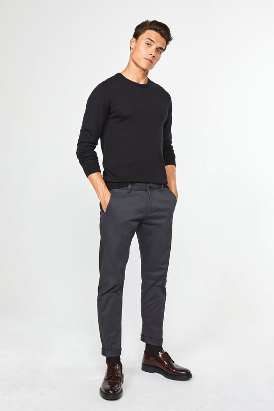 Heren slim tapered effen chino Donkergrijs