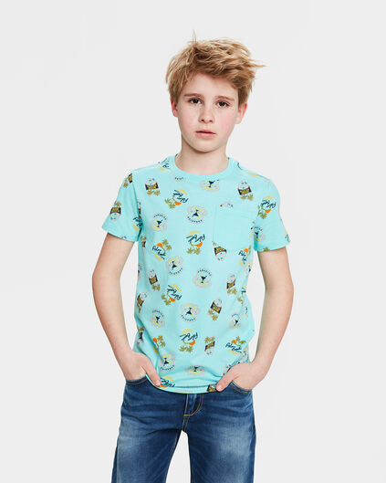 JONGENS PALM BEACH PRINT T-SHIRT Turkoois
