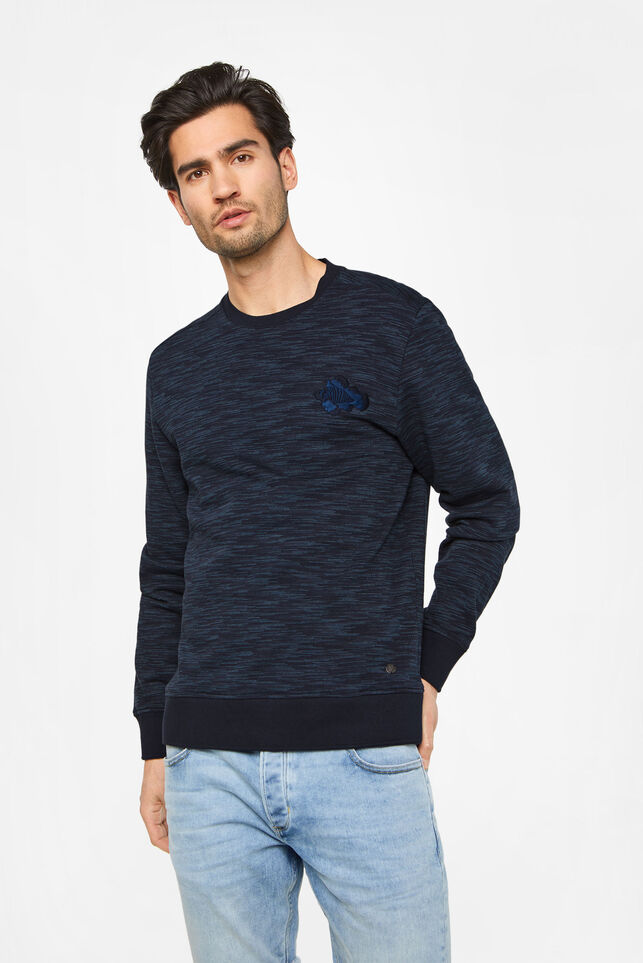 Heren sweater met borduurapplicatie Donkerblauw