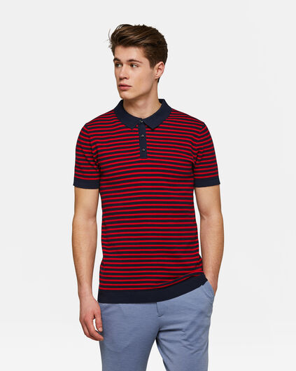 Heren gestreepte knitted polo Rood