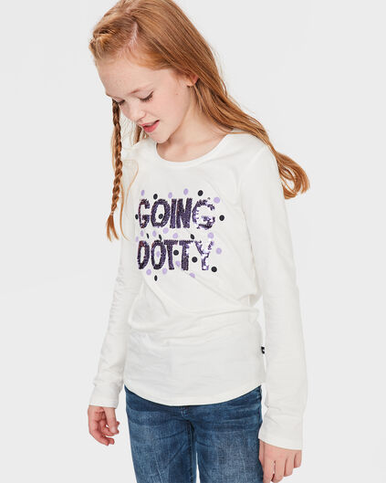 MEISJES GOING DOTTY OMKEERBARE PAILLETTEN SHIRT Wit