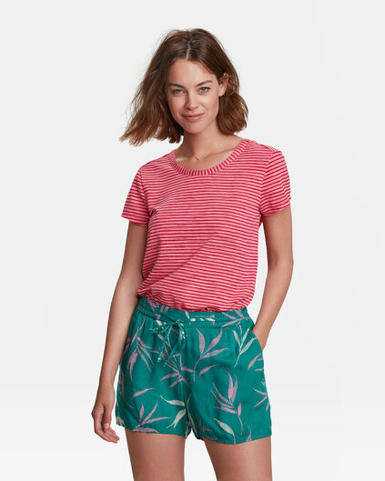 DAMES BACK DETAIL STRIPE T-SHIRT Lichtrood