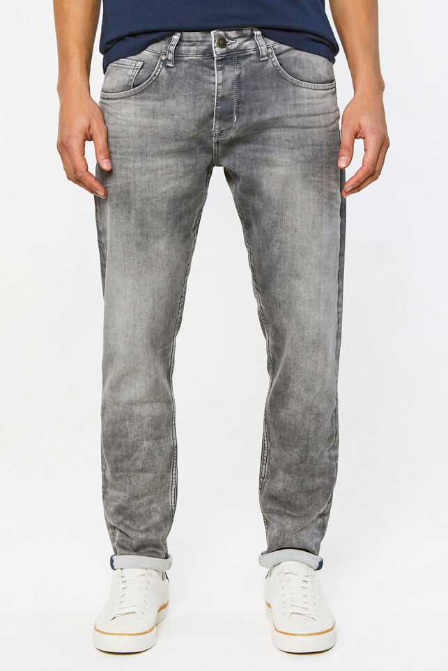 Heren tapered jog denim jeans Lichtgrijs