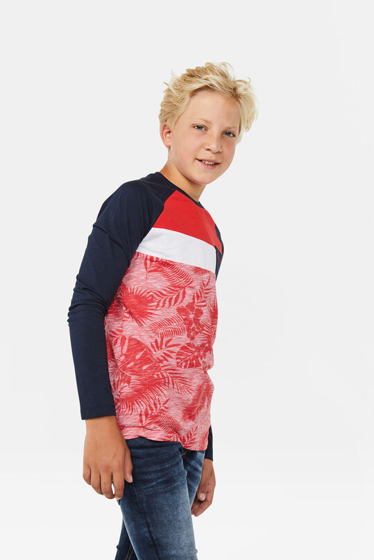 Jongens colourblock T-shirt Felrood