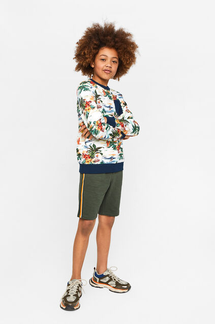 Jongens sweat short met tapedetail Legergroen