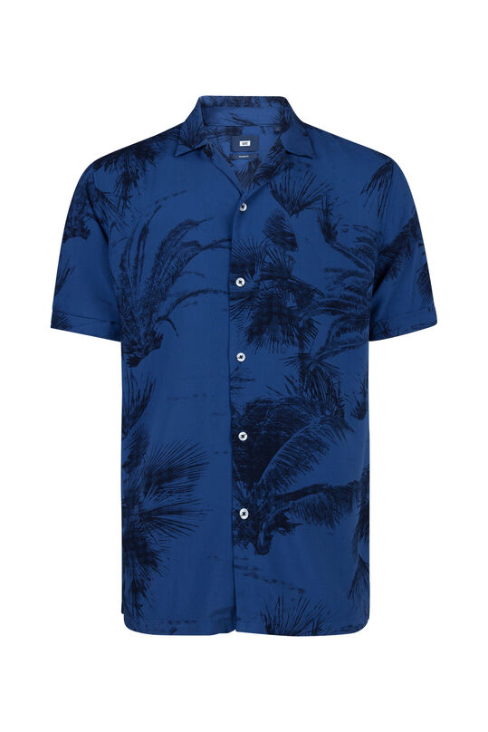 Heren relaxed fit palmdessin overhemd Marineblauw