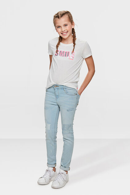 MEISJES GIRLFRIEND FIT REPAIR JEANS Lichtblauw