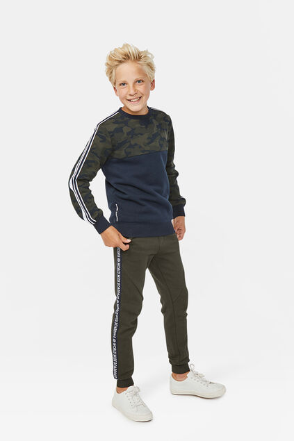 Jongens world print sweatpants Legergroen