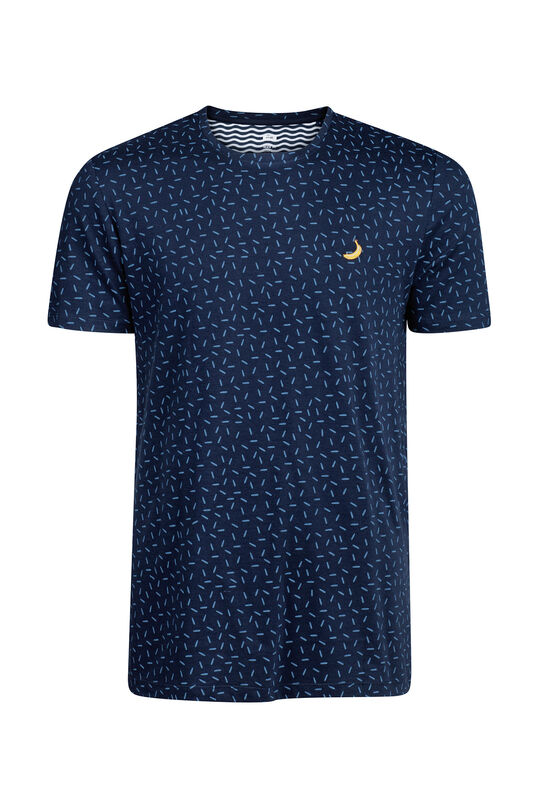 Heren dessin T-shirt Marineblauw