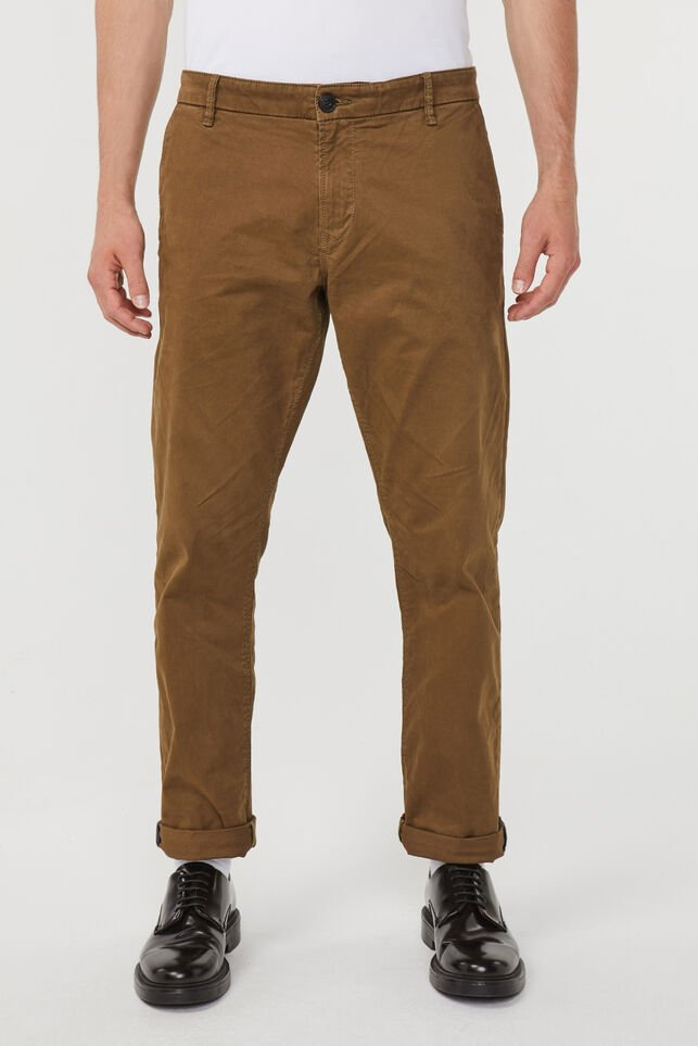 Heren regular straight fit chino Bruin