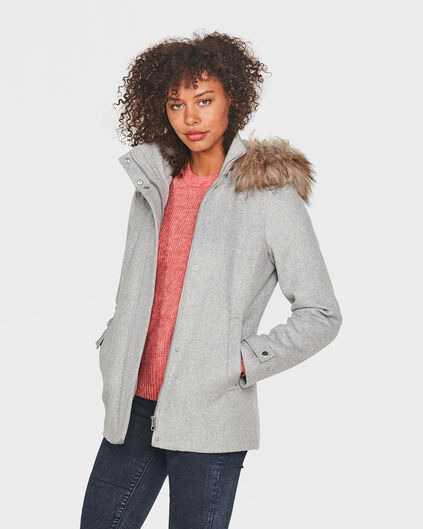 DAMES FUR COLLAR JAS Grijs