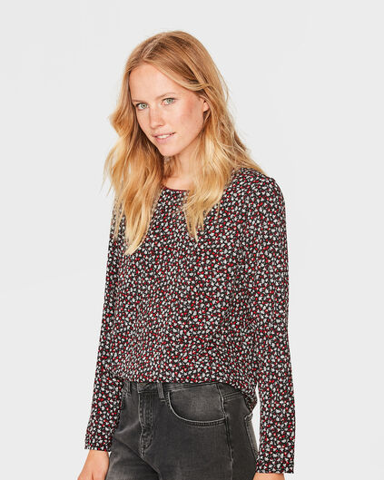DAMES FLOWER PRINT BLOUSE Zwart