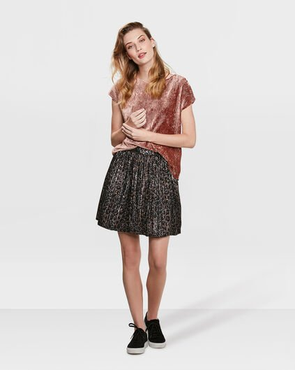 DAMES LEOPARD PLEATED ROK Zwart