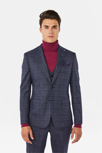 Heren slim fit blazer Stayton Marineblauw