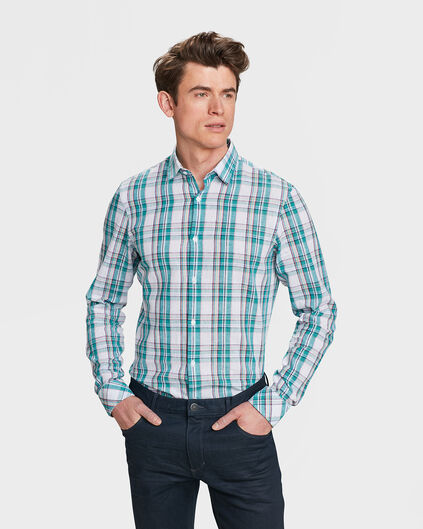 HEREN SLIM FIT CHECKED OVERHEMD Mintgroen